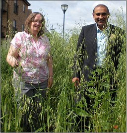 Jenni Ferrans and Subhan Shafiq almost hidden in the weeds at Plaistow roundabout a few weeks ago.