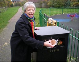 Vanessa McPake getting the litter collected in the Abbeydore play area in Monkston.