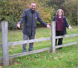 Subhan Shafiq and Jenni Ferrans at the broken ascot railings near Kilwinning Drive in Monkston