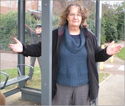 Cllr Jenni Ferrans at the Dunchurch Dale bus shelter.
