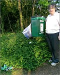 Jenni Ferrans finds a dog bin doubling as a litter bin in Walton Park.