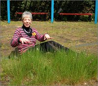 Vanessa disappears under weeds in Kents Hill