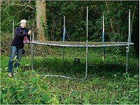 Vanessa McPake finds a discarded trampoline on Walton Park