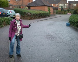 Vanessa McPake on the slope at Bartholomew Close, Walton Park