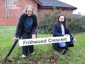 Jenni and Richard in Frithwood Crescent, Kents Hill